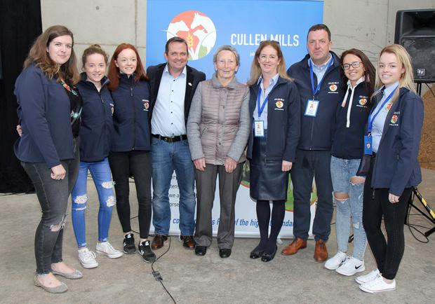 The Cullen family, John, Karen, Mary, Caoimhe, Aine, Aoife, Blathin and Clodagh, with Wexford hurling manager Davy Fitzgerald at the official opening of Cullen's Mill, Ballylucas, Ballymurn