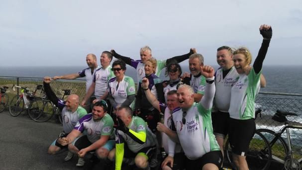 The Bunclody Crew who completed the Malin 2 Mizen cycle for Cystic Fibrosis