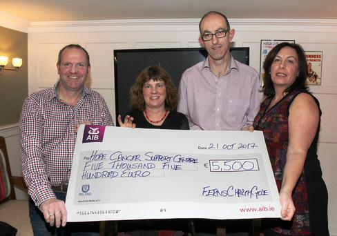 Presentation of cheque for €5,500 to the Hope Cancer Support Centre, Tomás Tonks, chairman Ferns Charity Cycle; Liz Fitzgerald, Hope Centre; Peter Doyle, FCC and Anna Doyle, FCC