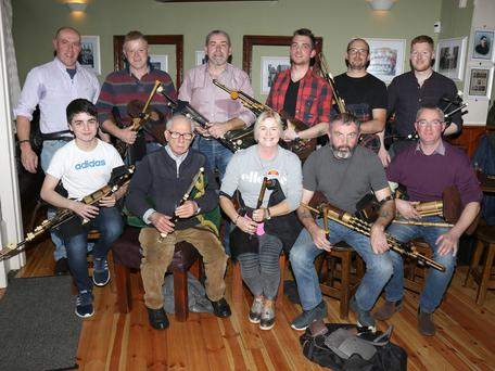Back: Ned Wall, Brendan Wickham, Padraig Sinnott, Michael Martin, Hamish Stuart and Éanna Harrington. Front: Oisin Ó Feinneadha, Seamus Mac Mathúna, Catherine Roche, Ger Brennan and John Morrissey