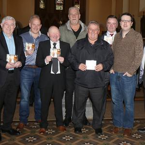 Leslie Dunne, fourth from left, with his guests at the CD launch