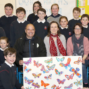 Pupils with Cllr John O'Rourke, principal Ita Connolly and special needs assistant Sarah Roche at the unveiling