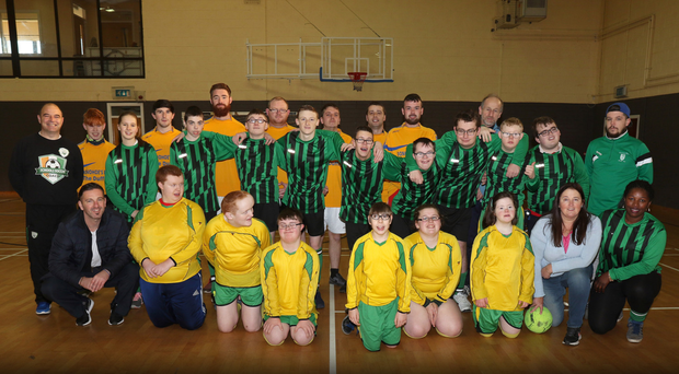 Students from St Patrick's along with soccer scheme coaches