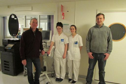 Maria Lambert and Leah Byrne with teacher Joe Flynn and Principal Iain Wickham at Koping General Hospital