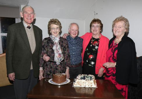 Mauren and Harry Thackaberry, Monageer with Maureen's sister Breda and cousins Ann and Joe Jacob at their 50th wedding anniversary in The Holy Grail on Valentine's Night
