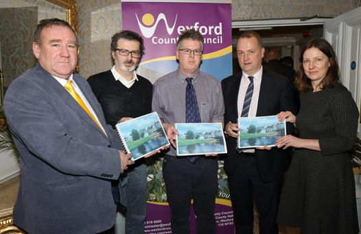 Cllr. Keith Doyle, chairman Enniscorthy Municipal District; Manuel Garrido, ARUP; Brian Galvan, head of special projects Wexford County Council; Tom Enright, CE Wexford County Council and Liz Hore, Area Manager, at the Templeshannon Regeneration Strategy meeting