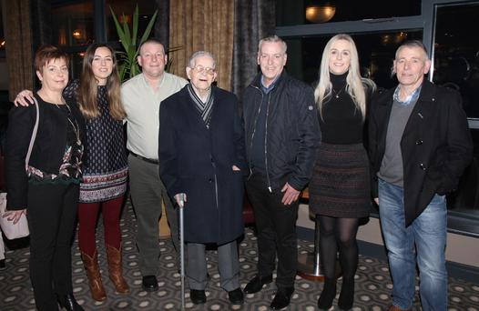 Patsy Nolan, St. Aidan's Villas, Enniscorthy pictured with his daughter Elizebeth, sons Joseph, John and Patrick and granddaughters Amy and Lyn at his 92nd birthday celebration dinner in the Riverside Park Hotel on Saturday night
