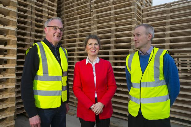 Mary Walsh, managing director of Wel Pallets in Gorey, with Dermot Fitzgerald and Micheal Stapleton. Photo: Patrick Browne