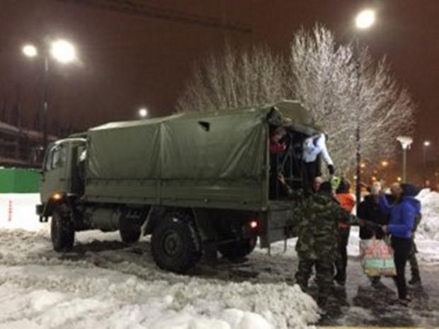 The army helps to transport staff to University Hospital Waterford