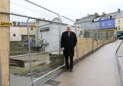 Cllr Johnny Mythen at the old Murphy Floods site