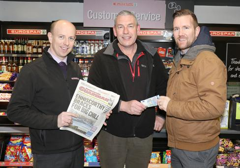 At Eurospar Bunclody were Patrick Rooney, manager; Walter Byrne, Ryland Road, Bunclody, winner €20 and PJ Banville, advertising executive, Enniscorthy Guardian