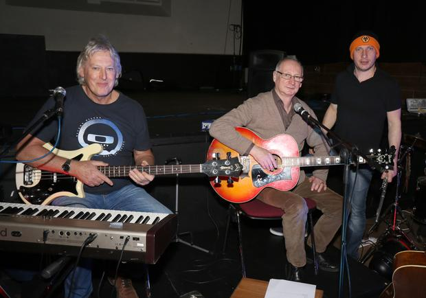 Mike Odlum, Billy Roche and Pete McCamley at the Billy Roche – The Red Guitar Tour in The Presentation Centre