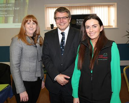 Catriona Murphy, chief executive, Enniscorthy Chamber of Commerce; Adrian Twomey, Jacob & Twomey Solicitors and Dearbhala Casey, Irish Country Meats
