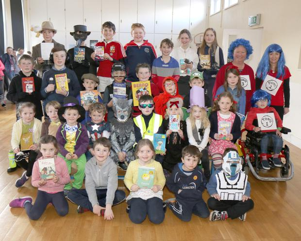 Students celebrating World Book Day at St Mary's NS by dressing up as their favourite book characters