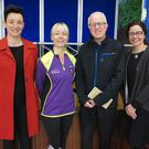 At the presentation: Siobhan O'Shea, St Senan's parents association, Karen Murphy, who raised money by participating on the Dublin City Marathon, Richie Healy of Enniscorthy Men's Shed,and Oonagh Rackard, principal, St. Senan's
