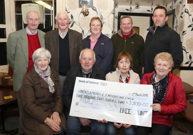 Bree Hunt cheque presentation to the Parents & Friends of St. Anthony's Unit. Back: Jim Mernagh, Nick Doyle, Annette Fenlon, Jay Bowe and Johnny Byrne. Front: Monique Crean, Patsy Morissey, Lena Byrne and Nellie Doyle. (Missing is Madge McDonald)
