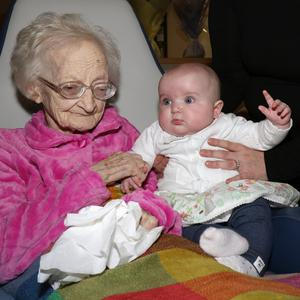 Maggie Clince with her 5-month-old great granddaughter Grace Hanley