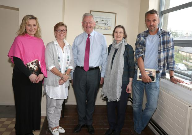 Sheila Forsey, Marie Clifford, Jarlath Glynn (librarian), Betty Thomas and John Kelly at the Poetry Day Ireland reading in Enniscorthy Library