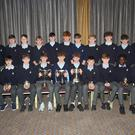 The St Mary's CBS, Enniscorthy team and mentors who claimed their first ever Bank of Ireland FAI Schools Tom Ticher Junior National Cup on Wednesday pictured at the annual school awards ceremony in the Riverside Park Hotel