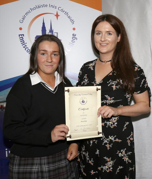 Best LCVP Student Award winner Bróna Flynn with teacher Laura McWalter