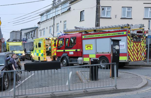 Enniscorthy Fire Service and ambulances attend an incident at Denis's, Castle Hill