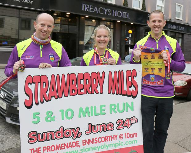 At the launch of the Strawberry 5 & 10 Mile Run & Walk at Treacy's Hotel – Patrick Rooney (race director), Gretta Roberts-Tyrrell (race director) and Fergus Murphy (chairman, Slaney Olympic AC)