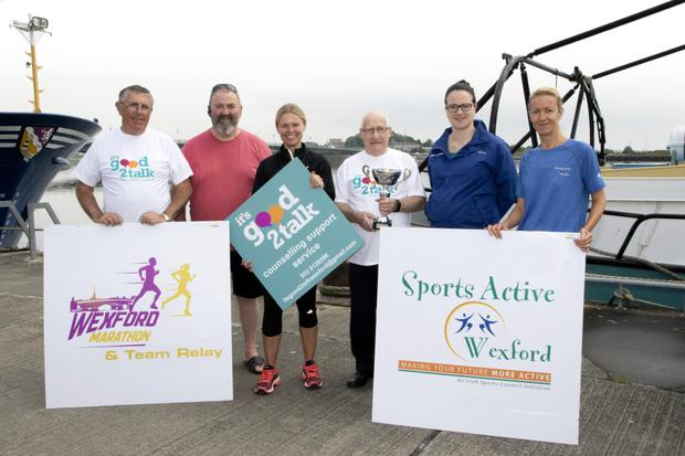 At the launch: Leo Coy of It's Good 2 Talk, David Martin of Wexford Borough Council, organiser Deirdre Boland, Cllr Davy Hynes of It's Good 2Talk, and Mary Flynn and Mary Kehoe of Sports Active Wexford