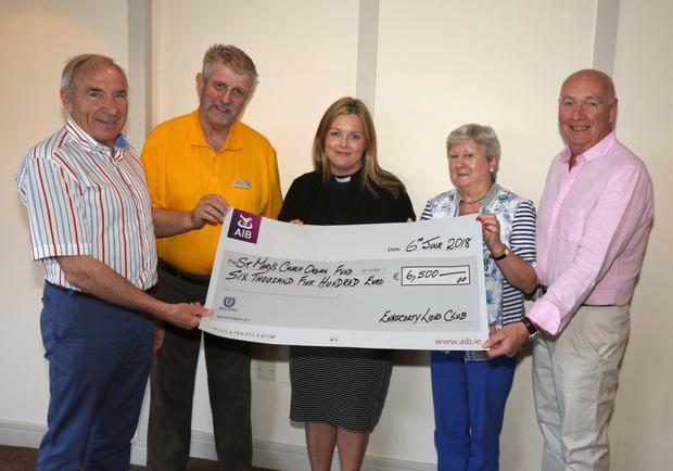 Pictured at the presentation of €6,500 by Enniscorthy Lions Club to the St Mary's Church Organ Fund were, from left, Eric Barron (President), Jimmy Gahan (PRO), Reverend Nicola Halford, Doreen Moran and Colm McGibney