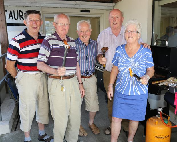 Patrick Murphy, Edie Kehoe, Pat Brennan, Aidan Quirke and Sheelagh O'Leary man the barbecue