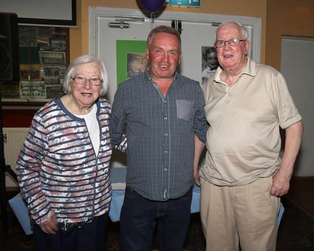 Jim Byrne, Island Road, Enniscorthy with his aunt Elizebeth Molloy and uncle Larry Byrne at his 50th. Birthday Party in Bellefield GAA Complex