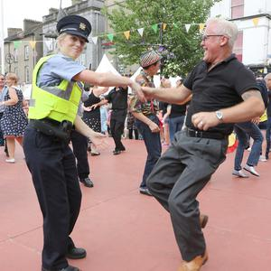 Sgt. O'Donnell and Pat Kavanagh on the main stage at the Rockin' Food Festival