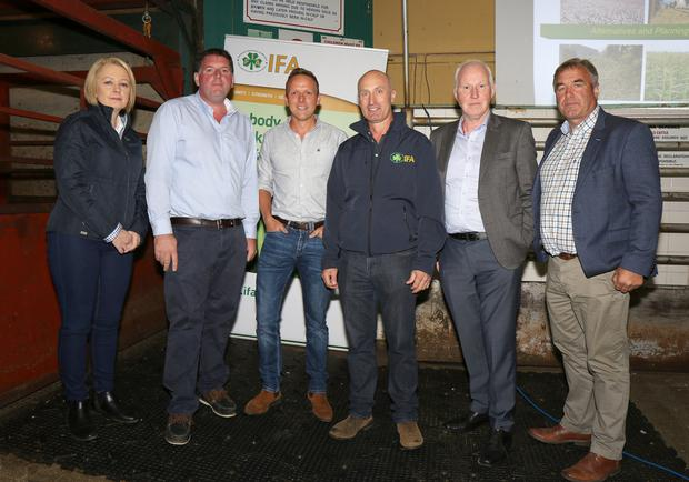 Edel Gahan, vice-chairperson Wexford IFA;James Kehoe, chairman Wexford IFA;Martin Breen, vet; Michael Gahan, dairy chairman; Gerry Giggins, animal nutritionist; and Tom Short, South-Leinster vice-president IFA, at the Fodder Crisis Meeting held in Enniscorthy Mart