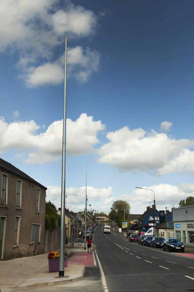 Installation of five poles for the new LED street lighting in Camolin