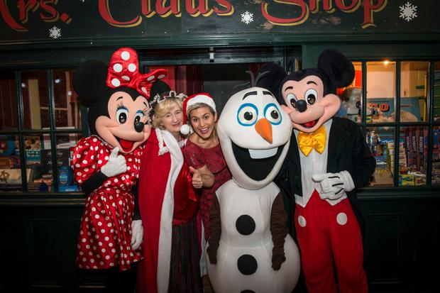 Mrs Claus with Disney Characters and Maria Walsh at Santa's Enchanted Castle