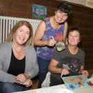 Kate O'Donnell, artist Helen McLean and Helen McLoughlin at the Helen McLean Mosaic Workshop in The Presentation Centre