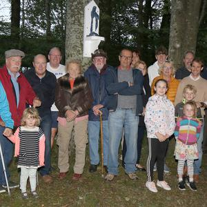 The Byrne family and friends at the unveiling and blessing of a statue, in memory of the late Billy Byrne, at the Coorawn Holy Well, Brownswood