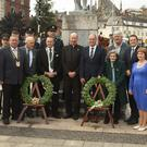 The wreath laying ceremony at the Seamus Rafter monument
