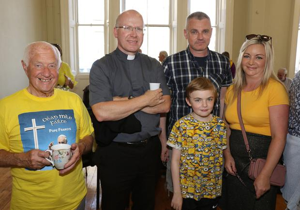 Sonnie Somers, Fr Billy Swan and Alan, Sam and Patricia McNally at the St. Aidan's and Enniscorthy & Monart Union of Parishes Walk