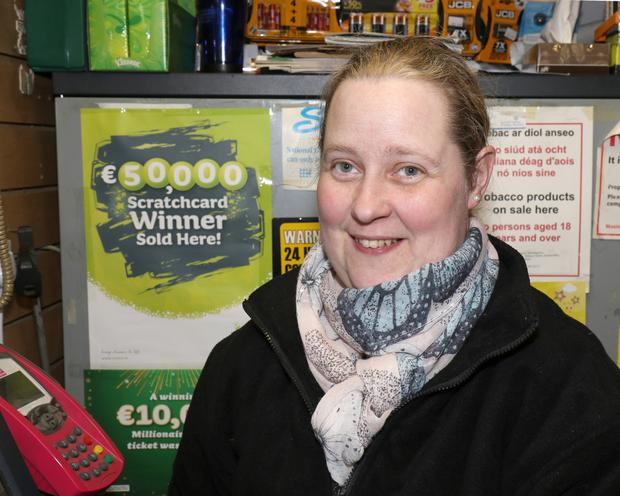 Sarah Masterson, owner of the Kiosk Shop where a customer won €50,000 for a second time on an 'All Cash Platinum' scratch card