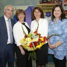 Deputy Principal, Niall Moynihan, Principal Kiera O'Sullivan, Frau Deike Potzel, German Ambassador to Ireland, and Maria Whitty, German Exchange Co-ordinator