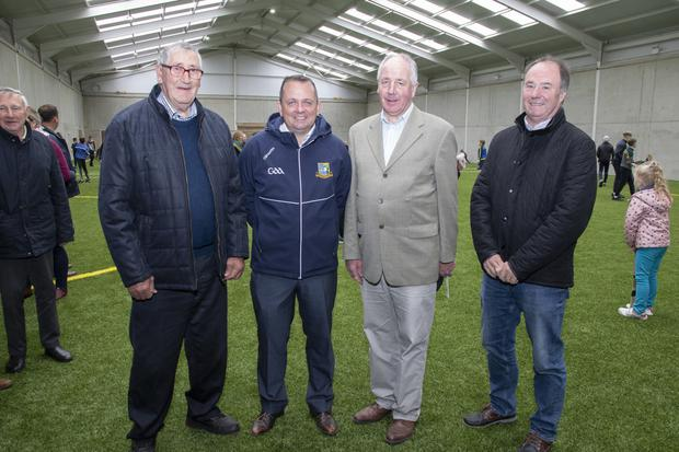Tommy Whelan, Blackwater GAA club president; Davy Fitzgerald, Wexford Senior Hurling manager; Liam Buttle, club chairman at Derek Kent, County Board chairman