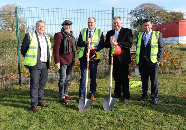 Maurice Mythen, Mythen Construction; Michael Dunbar,former principal; Minister Paul Kehoe TD, Lee Rogers, principal and Billy Mythen, Mythen Construction at the sod turning for the new St Patrick's Special School
