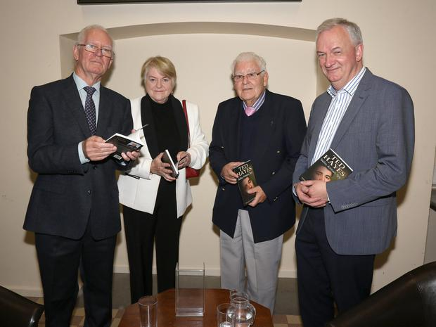 Michael Freeman (publisher), Clora McGuinness, Ted Hayes and Jarlath Glynn (librarian) at the 'TedHayes: Sailor, Airman, Spy' reading by Ted Hayes in Enniscorthy Library