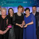Pictured, from left, receiving the Bunclody award at the IPB 'Pride of Place' awards ceremony were: Michael Sweeney (Wexford County Council); Cllr Anthony Donohoe; Una Murphy (Bunclody Tourist Office); Liz Hore (Enniscorthy District Manager); Cllr Kathleen Codd-Nolan; Peter Sheridan (CE Co-operation Ireland); Theresa Harte (Bunclody Town Team); Joe OReilly (Bunclody Town Team); George Jones (Chairman of IPB) and Tom Dowling (Chairperson of Pride of Place)