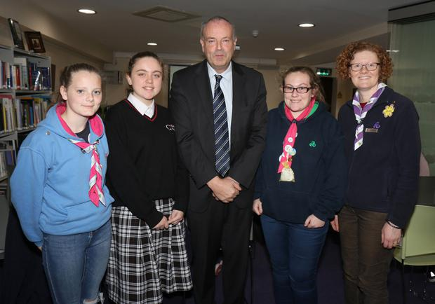 Ava Carroll, Saoirse Maloney, Denise Smith and Una Wafer (Seashell Senior Branch, Courtown) with Gerald Fleming