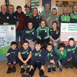 Committee members, coaches and children at the launch of Shamrocks GAA Lotto Syndicate in the Clubhouse on Thursday night