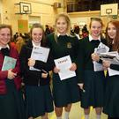 Aoife Clauson, Nicola Dobbs, Aisling Crawte, Niamh McHugh and Emily Redmond at the Careers Night at FCJ Bunclody