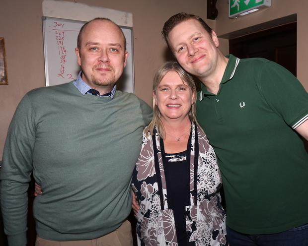 Róan P. Byrne, Sandra Holohan and Fintan Kelly at 'Well Anything Quare?' in Conran's Bar, Rathnure