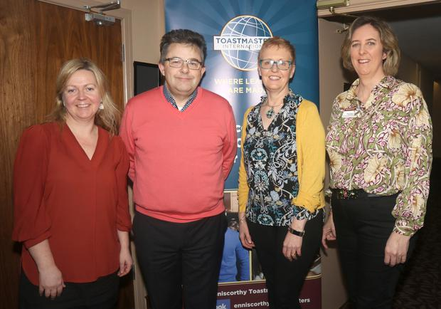 Mairead Stafford, Jim Rossiter, Nettie Bowie and Mary Maher (President) at the Enniscorthy Toastmasters open evening