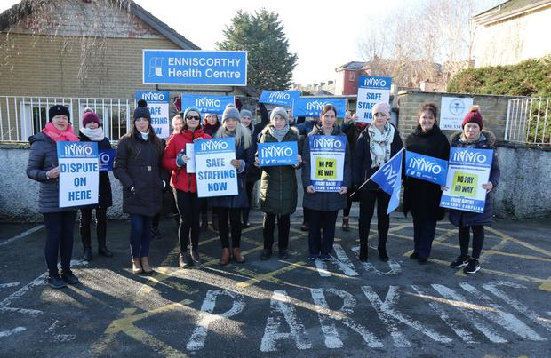 Enniscorthy and Gorey Public Health Nursing Service members outside Enniscorthy Health Centre last Wednesday